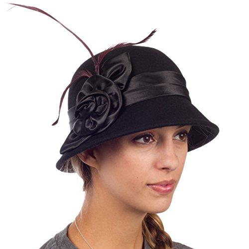 Sakkas 30041M Danielle Jahrgang Stil Wolle Glocke Hut - Schwarz - eine Größe