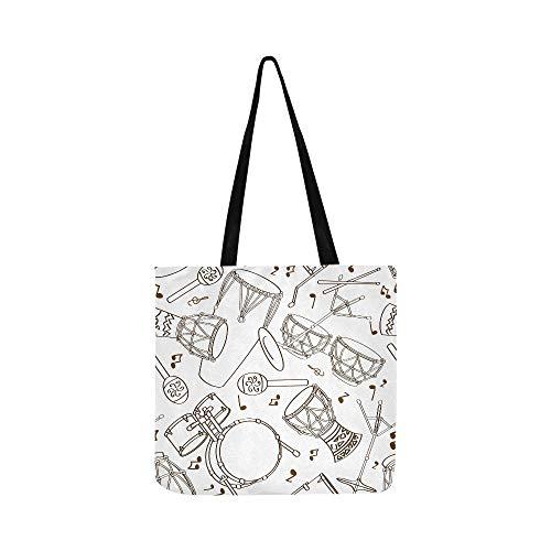 Handgezeichnete musikalische Trommel Set Canvas Tote Handtasche Schultertasche Crossbody Taschen Geldbörsen für Männer und Frauen Einkaufstasche