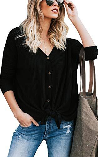 ECOWISH Damen V-Ausschnitt Casual Pullover Button Down Gestreiftes Shirt Print Waffel Stricken Sweater Knoten Oberteile Top 105Schwarz L