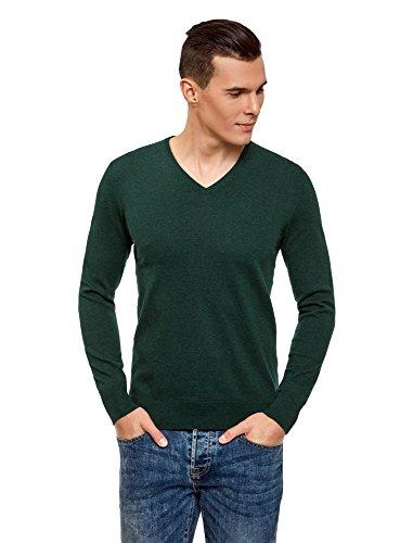 Oodji ultra uomo maglione basic con scollo a v, verde, it 48 / eu 50 / m