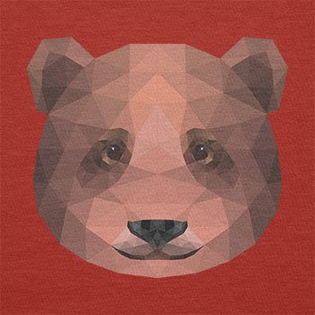 TEXLAB - Polygon Bearface - Herren Langarm T-Shirt Rot