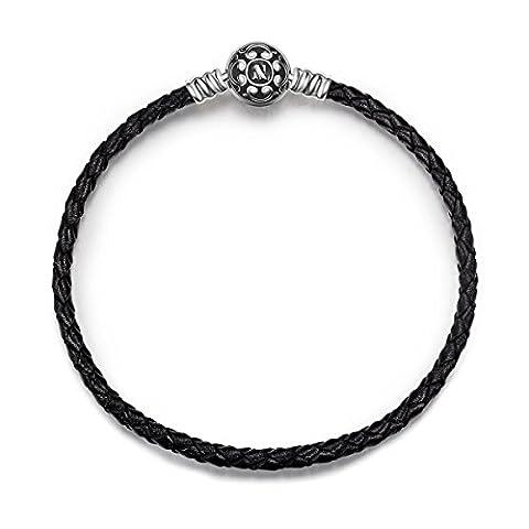 NinaQueen Charms Bracelet pour femme argent PU & 925 Black compatible avec pandora charms bijoux Cadeau Saint Valentin Fete des Meres Anniversaire Cadeaux Noel Maman Mere Fille 19cm
