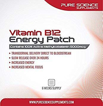 Pure Science Transdermal Vitamin B12 Patches 5000mcg - Direct Transmission of 100% Active Methylcobalamin to the Bloodstream for Quicker Absorption - 6 Weeks Supply by Pure Science