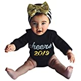 HWTOP Kinderkleidung Romper Newborn Infant Baby Girl Boy Letter Bodysuit Clothes New Year's Outfits