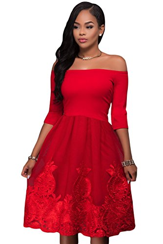 Hot Red Lacy Stickerei Tüll Rock Skater Dress Größe 38-40 (Lacy Leggings Für Frauen)