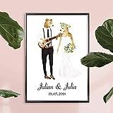 Personalisiertes Bild Bären Hochzeit mit oder ohne Rahmen | Geschenkidee zur Hochzeit | Geschenke für Paare | Personalisierte Hochzeitsgeschenke | Besondere Hochzeitsgeschenke