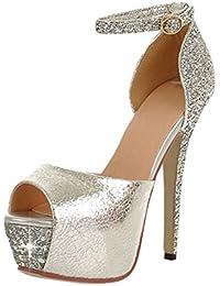 Artfaerie Damen Peeptoes Extreme High Heels Plateau Sandalen mit Glitzer und Schnalle Stiletto Riemchen Pumps Lack Party Schuhe