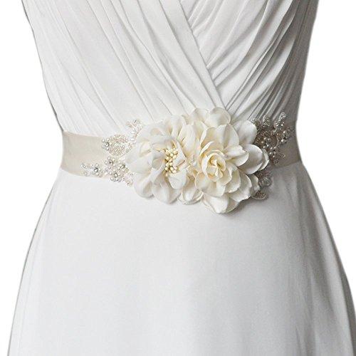 TOPQUEEN S172 flor hecha a mano cinturones cinturones de cinturón de novia de la boda de la mujer hoja para la boda