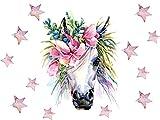 GRAZDesign Wandtattoo Einhorn rosa Aquarell - Set mit Sternen - Wandsticker für Kinderzimmer Mädchenzimmer - Geschenk Mädchen - Wanddeko Pferdekopf/Blattgröße 40x57cm