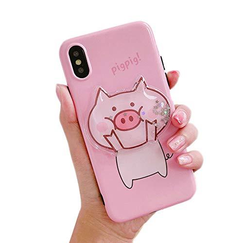Bontujoy Schutzhülle für iPhone 7 / iPhone 8, super süßes 3D-Schweinchen-Muster, aus weichem TPU, mit Airbag-Teleskophalterung, Handyhalter iPhone X/XS PIG-4