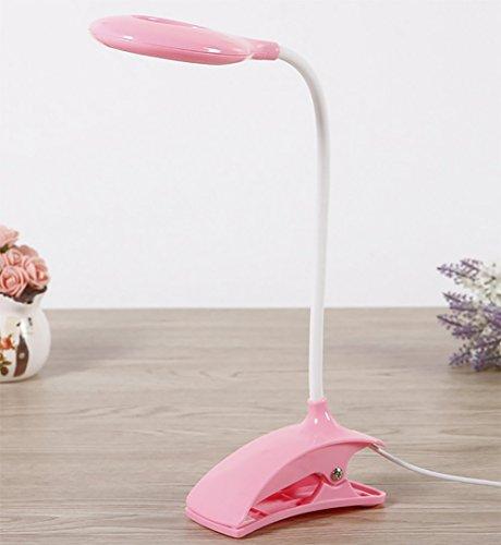 LED Schreibtischlampe Dimmbar,Leselampe klemmen,Augenschutz Flexible Nachttischlampe,dimmbares Leselicht mit Clip,blendfrei,Energieeffizient,Pink (Pole-licht-schalter)