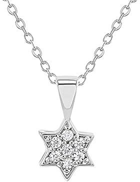 In Season Jewelry Mädchen - Halskette Stern Von David Rhodiniert Klar CZ Zirkonia 40cm
