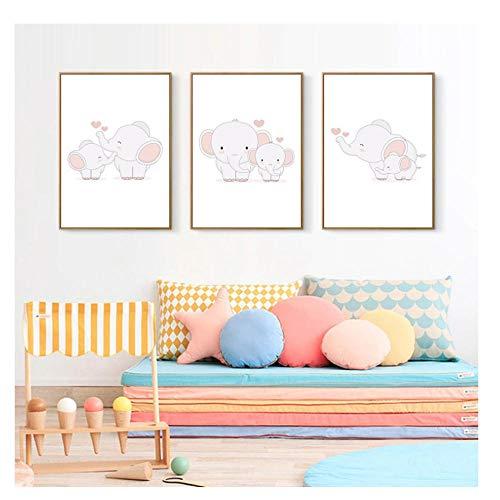 Huizheng animali stampa giclée su tela immagine della scuola materna camera dei bambini, madre con un elefantino per giocare a poster e stampe -nessuna cornice / 50x70cmx3