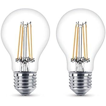 Philips - Bombilla decorativa LED con filamento, E27, 6 W, equivalente a 60 W, estilo vintage, pack de 2