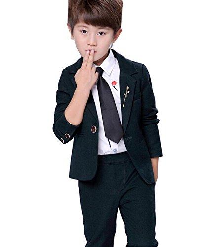 Jungen Anzug Smoking 2 Stück Zwei-Knopf-Klage-Set Jacke und Hose (160cm, Grün) (Stück 2 Ein-knopf-anzug)