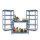 Petite Entreprise ou Starter Kits de garage 2x rayonnages et 1établi 600mm de profondeur + Gratuit Livraison le jour suivant