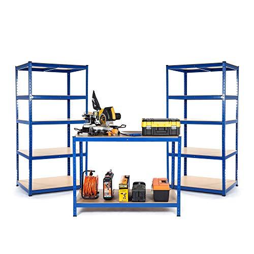Starterset für Kleinunternehmen oder Werkstätten, 2 x Regal und 1 x Werkbank, Tiefe 300mm