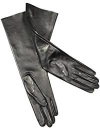 PARISI GLOVES - GUANTES LARGO cm 40 EN PIEL FORRO SIN FORRO - MADE IN ITALY - 8Psf
