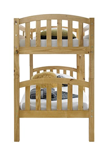 Happy Beds American Solid Honey Pine Wooden Bunk Bed 2x Orthopaedic Mattress Bedroom