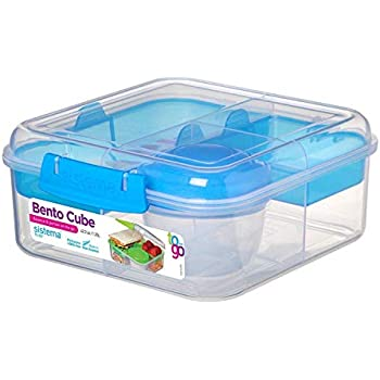 SISTEMA To GO Salad Lunch Box Container Storage Dressing Pot Cutlery 1 L Clear