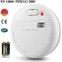 Détecteur de fumée NF CE EN 14604, Donix Alarme Incendie avec batterie Capteur Photoélectrique, haute Sensitive avertisseur d'incendie haute voix précis