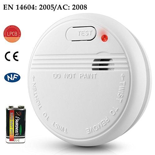 Elektrischer Rauchmelder Optischer Feuermelder Fotoelektrischer Rauchwarnmelder mit Batterie, EN14604, 1 Stück (1 Stück)