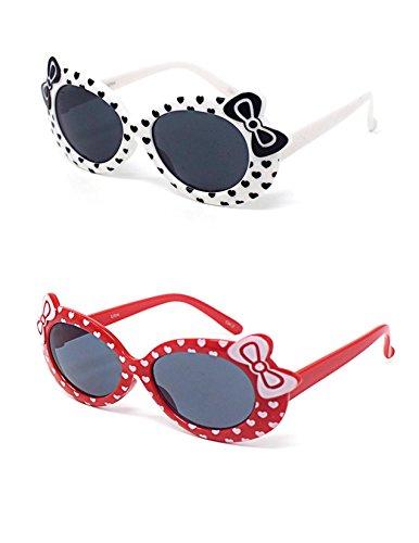 2 x Kinder Kids Mädchen 1 White 1 rot stilvolle hallo Kitty Style UV400 Sonnenbrille Schattierungen