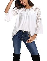 Damen Shirt Asymmetrisch Chiffon Bluse 2in1 Longshirt Hemd mit Spitze  SMLXL