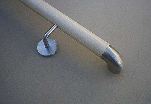Ahorn Handlauf mit Edelstahl Bogen 90° und Edelstahlhalter in verschiedenen Längen (160cm 3 Edelstahl-Halter) -