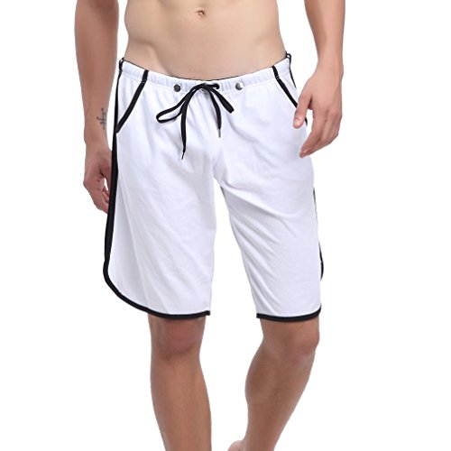 Honghu Men's Side-Stripe Nuotare Trunks Costumi Da Bagno Uomo Bianca