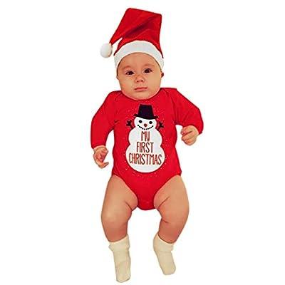 Navidad Baby Body de Ropa Otoño Invierno Niñas/Niños/Unisex Moda Pijama Lindo Animal Bebé Manga Larga y Estampado Divertido con Christmas Monos Rojo
