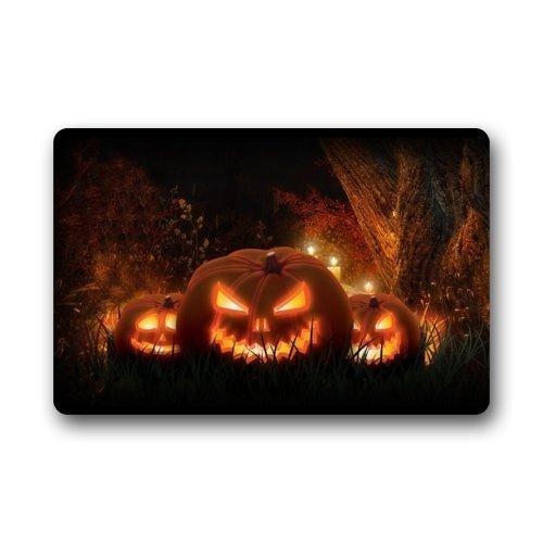 IISSHOP Personalisierte benutzerdefinierte lustige Fußmatten - beängstigende Halloween-Kürbisse/Halloween-Dekoration - dauerhaft waschmaschinenfest für Innen- und Außenmatten für den ()