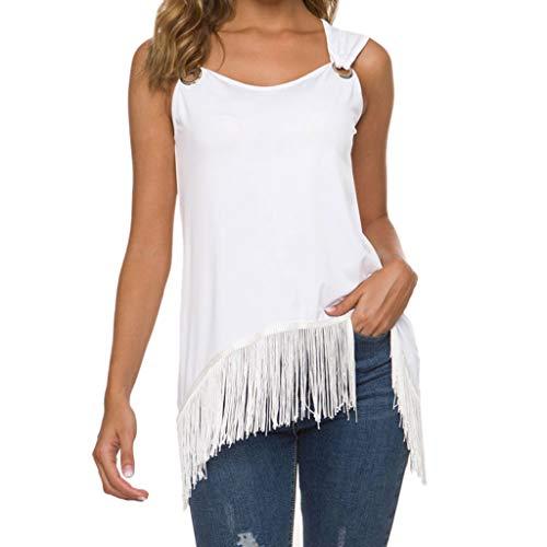 CUTUDE Damen T Shirt, Bluse Kurzarm Sommer Freizeit Rundhals Quaste Volltonfarbe Ärmellos Lose Tops (Weiß, X-Large)