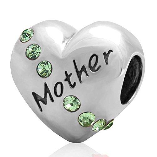 Soulbead madreperla con ciondolo a forma di cuore in argento Sterling 925 con perline in (Peridot Forma Di Cuore Ciondolo)