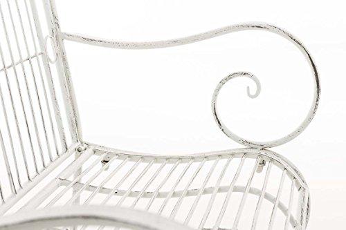CLP Metall Gartenbank PURUSHA, 2-Sitzer, Landhaus-Stil, Eisen lackiert, Design nostalgisch Antik Weiß - 6