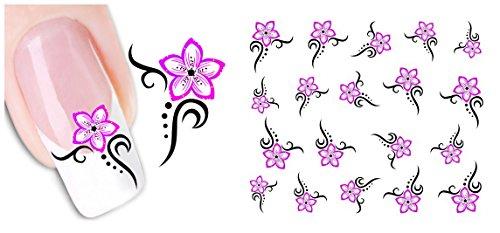 nicedeco-calcomanias-y-autoadherentes-pegatinas-decoracion-para-unas-diy-nail-arte-flor-rosa
