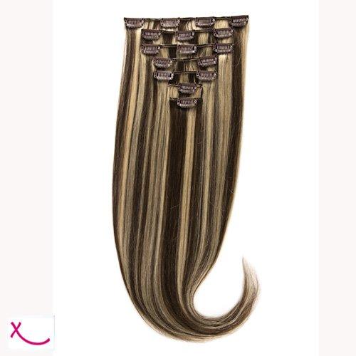 Extiff - Extension cheveux naturel clip lisse - 50cm 100gr - qualité Rémy Hair (4/613 - Méché platine) - 7 bandes au total 15 clips