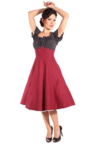 SugarShock Damen 50er Polka Dots rockabilly Schleifchen Carmen Petticoatkleid Swing Kleid Weinrot