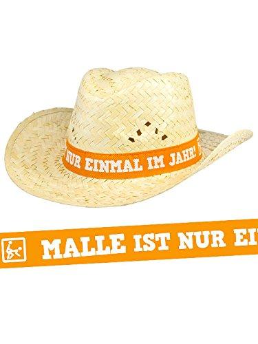 KULTFAKTOR GmbH Strohhut Malle ist nur einmal im Jahr beige-orange 32x12cm Einheitsgröße