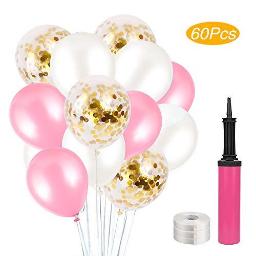 POMISTY Konfetti Luftballons Rosa 60 Stück Latex Party Luftballons,Hochzeit Ballons Geburtstag Dekorationen für Party Geburtstags Weihnachten, Hochzeit in 3 Farben