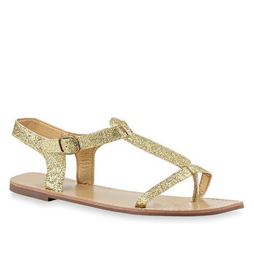 Damen Sandalen Fransen Glitzer Quasten Metallic Flats Schnallen Riemchensandalen Damen Velours Schuhe 143893 Gold Glanz 40 Flandell