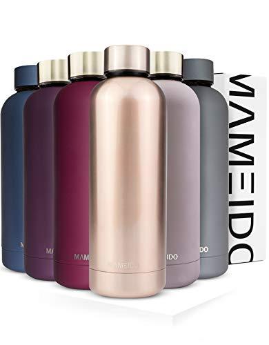 MAMEIDO Trinkflasche Edelstahl - Rosegold - 500ml,0,5lThermosflasche - auslaufsicher, Kohlensäure geeignet, BPA frei -schlankeisolierte Wasserflasche,leichtedoppelwandige Isolierflasche