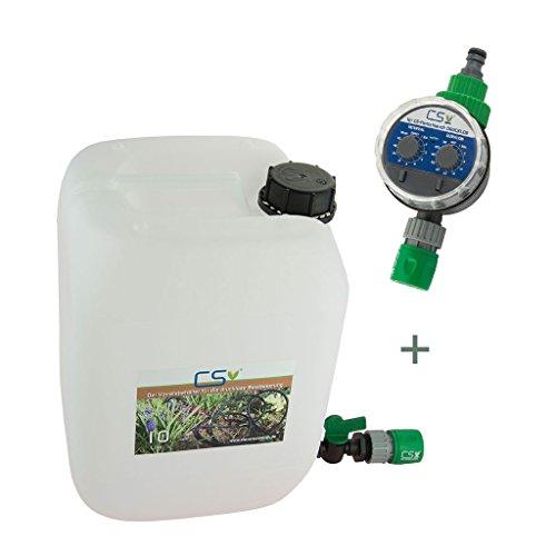 CS Wasser-Vorratsbehälter 10 l mit Absperrhahn, GL Schnellschlauchstück und Bewässerungscomputer für die drucklose Bewässerung