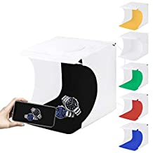 WJH 20cm Inclusief 2 LED Panelen Folding Portable 1100lm Light Photo Lighting Studio Schieten Tent Box Kit met 6 Kleuren Backdrops (zwart, wit, oranje, rood, groen, blauw), Unfold Maat: 24cm x 23cm x