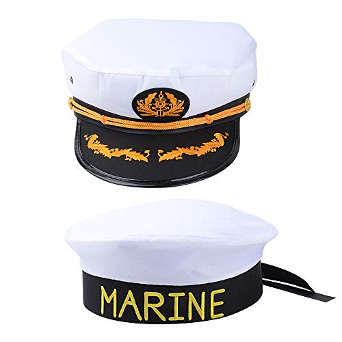 Kostüm Captain Sailor Für Erwachsene - MEJOSER 2pcs Kapitänsmütze Marine Matrosenmütze Captain Seemann Hut Navy Sailor Mütze Kostüm Fasching Karneval Party Fotoshooting Junggesellenabschied