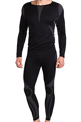 Herren Ski-, Thermo- & Funktionswäsche Set (Hemd + Hose) ohne störende Nähte von celodoro Schwarz / Grau Größe S / M