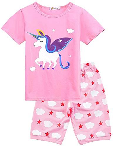 Little Hand Schlafanzug Mädchen Einhorn Eiscreme Kinder Sommer Zweiteiliger Baumwolle Kurz Nachtwäsche T-Shirt und Hose, Einhorn 1, 122 (HerstellerGröße: 140)