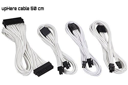 upHere Sleeved Cable - Kabelverlaengerung für die Stromversorgung mit extrahoeller 24 Pin / 8pin (4+4) M/B, 8pin (6+2) 50cm Verlängerungskabel Kit Weiss