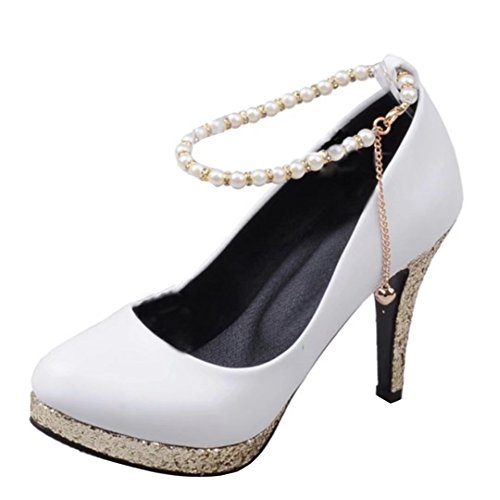 AIYOUMEI Plateau Pumps mit 10cm Absatz Schuhe mit Perlen Stiletto High Heel Elegant High Shoes