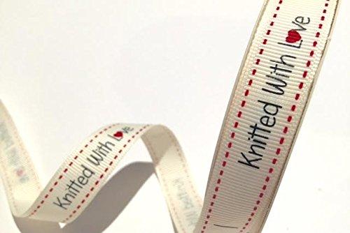 Bertie' s Bows 'maglia con amore' crema Grosgrain 16mm Etichette su un rotolo di 3M
